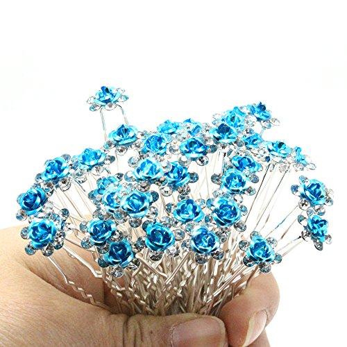 Shengxueer Lot de 20 pour mariage Effacer Strass Fleur Rose Epingle Clips