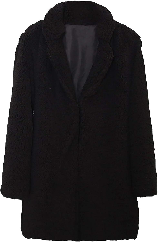Women's Fashion Casual Long Sleeve Lapel Zip Up Faux Shearling Plush Keep Warm Coat