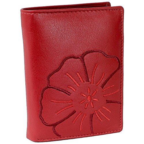 Branco Leder Geldbörse Portemonnaie Damenbörse Damen Geldbeutel rot - sehr hochwertig - Hochformat