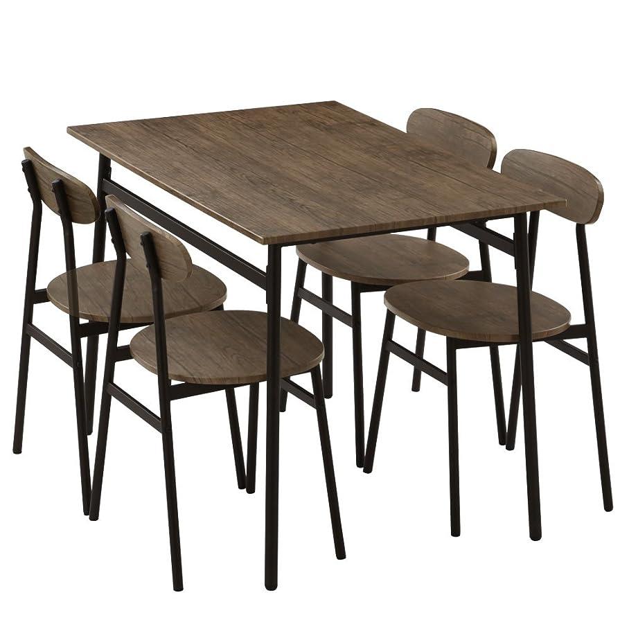 ビーチ仮称変わるぼん家具 ダイニングテーブル 5点セット 4人用 テーブル チェア4脚 食卓 110×70cm 木目調 おしゃれ ウォールナット