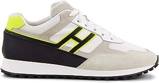 e1b58dc69 Hogan Scarpe da Uomo HXM4290BD80KWB75TC Sneakers Sportive Running Ginnastica  in Pelle Bianco Nero Giallo Fluo Nuove