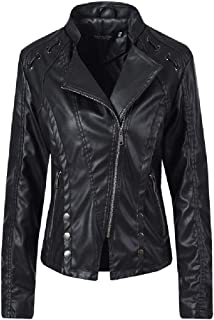 Howely Women Notch Collar Fall Winter with Zips Premium Leather Trench Coat