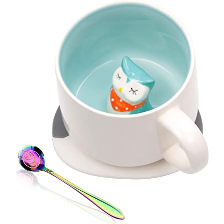 Ozazuco Cute 3D Owl Inside Coffee Mug Tea Cup, Funny Handmade White Ceramic Coffee Cup with Coaster and Spoon, Coffee Mug Perfect Gifts for Friends Roommate Family or Kids