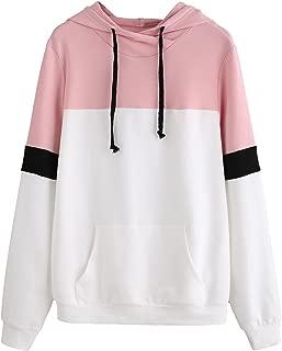 Women's Long Sleeve Drawstring Colorblock Pullover Hoodie Sweatshirt