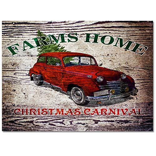 Farms Home Chriatmas Carnival Car Area Rug 2.7'x5' Non-Slip Floor Mat Bedroom Living Room Rug for Children Kids Adults Wooden Board Soft Rectangular Carpet for Indoor Home Decor