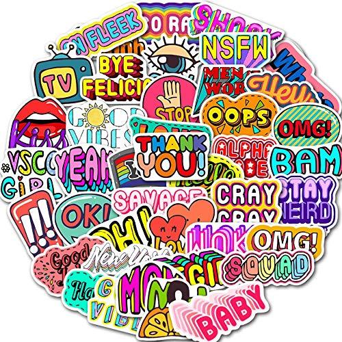 FNQ 50 Uds, Pegatina de Palabras en inglés, Pegatina de álbum de Recortes de Frase Corta Sorpresa, Juguete DIY para PC, teléfono, Guitarra, calcomanías para Ordenador portátil, Pegatina