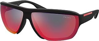 نظارة شمسية رجالي من Prada Linea Rossa PRADA LINEA ROSSA SPS 09V مطاط أسود/رمادي أحمر 72/12/130