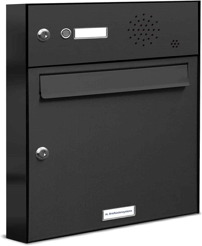 AL Briefkasten mit Sprechanlage in Anthrazitgrau aus rostfreiem Stahlblech - Briefkasten Türsprechanlage