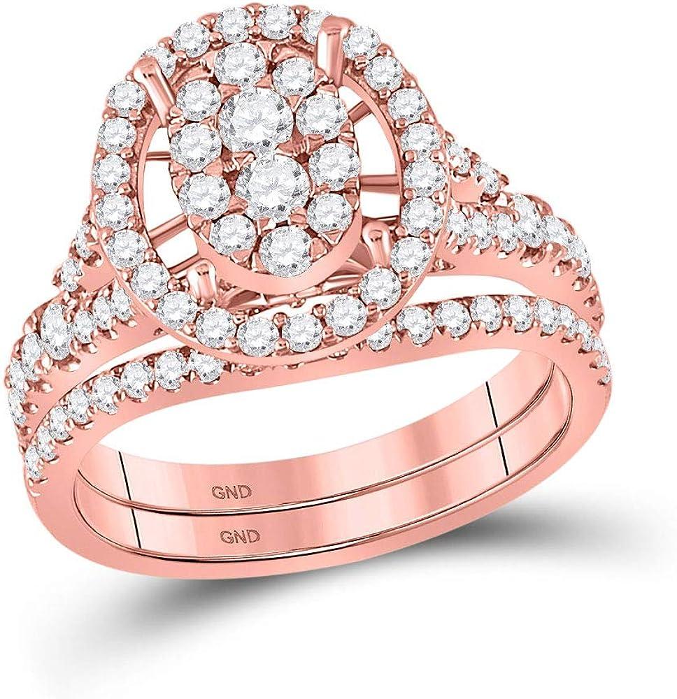 Reservation 14kt Rose Gold Round Diamond Bridal Ranking TOP9 Cttw Set Wedding Ring Band 1