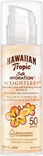 Hawaiian Tropic Silk Hydration Weightless Sunscreen Lotion with Air-Soft Texture, Reef Friendly, SPF50, 150 Milliliters