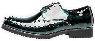 パテントレザー メンズパンクスタイルの靴は滑らかなPUレザープロムLofoレースネクタイと通気性の裏地付きオックスフォードシューズとリベット(3色オプション) フォーマルドレス ドレスシューズ (Color : 緑, サイズ : 24.5 CM)