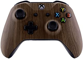 eXtremeRate® Wood Grain Faceplate Cover, Soft Touch Front Housing Shell Case, Comfortable Soft Grip Replacement Kit for Mi...