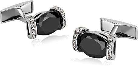 Epinki Stainless Steel Cufflinks Shirt Wedding Business Hollow Oval Zirconia Crystal-with Gift Box