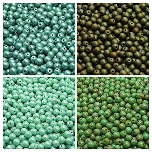 400 pcs 4 couleurs, Perles de verre pressées tchèque, rond 4mm, Set RP 419 (4RP023 4RP028 4RP041 4RP042)