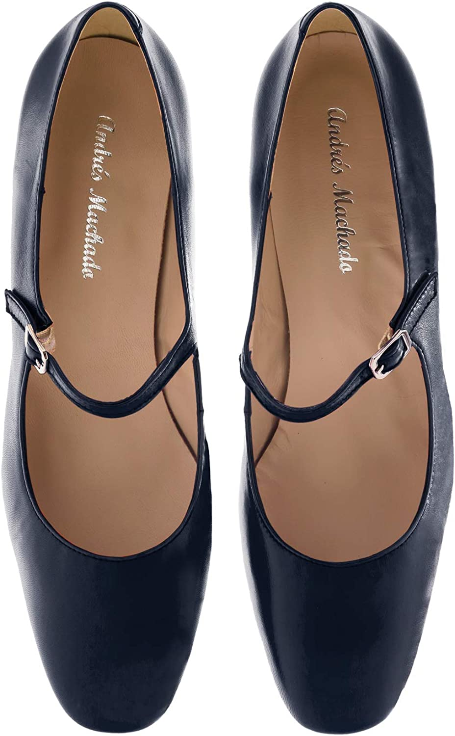 Andres Machado Dulce Heeled Mary Janes in Nappa Leather - Big Sizes: UK 8 to 10.5 / EU 42 to 45 Made in Spain Navy Nappa Leather