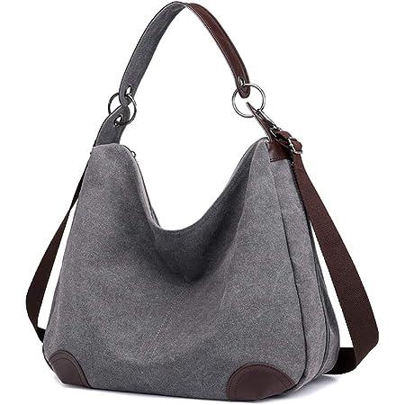 Eshow Damen Umhängetasche Handtasche Canvas Segeltuch mit Handgriff Anti diebstahl Fächern Schwarz/Grau/Anthrazit zu Einkaufen spazieren (grau)