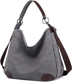 Eshow Damen Umhängetasche Handtasche Canvas Segeltuch mit Handgriff Anti diebstahl Fächern Schwarz/Grau/Anthrazit zu Einkaufen spazieren grau