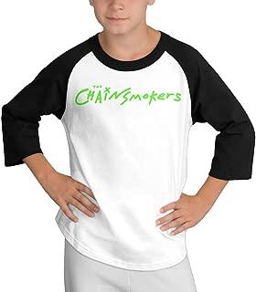 Gary Young Boy The Chainsmokers Logo Round Collar Raglan T-Shirt Black