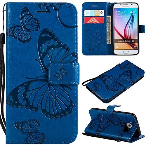 WindTeco Funda Samsung Galaxy S6, Mariposa Patrón Funda Piel Libro Shock-Absorción Carcasa Cartera Flip Billetera con Soporte y Ranuras de Tarjeta para Samsung Galaxy S6, Azul