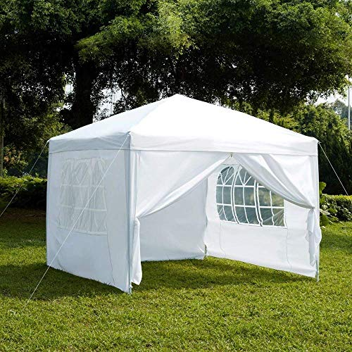 Garden Vida Pop Up Gazebo with Side Panels Marquee Zip Up Party Tent Outdoor Garden Canopy Water-Resistant with Wind Bars Weight Carry Bag, White, 2.5 x 2.5 m