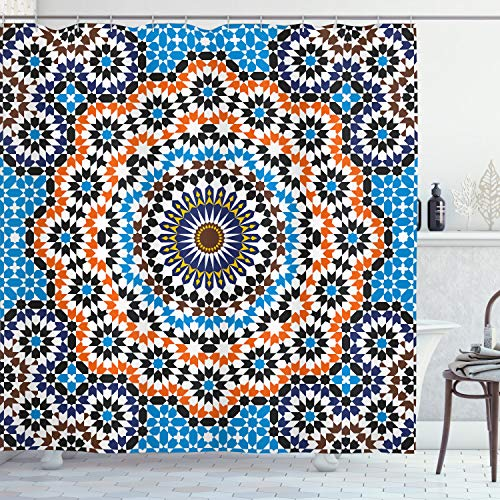 ABAKUHAUS Clásico Cortina de Baño, Baldosa cerámica marroquí, Material Resistente al Agua Durable Estampa Digital, 175 x 200 cm, Multicolor