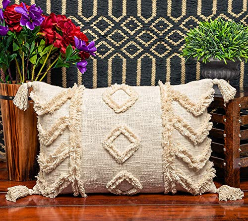 IMPEXART PVT LTD Shaggy Kissenbezug Dekorative Boho Throw Pillow 16X24 Zoll Elfenbein Rechteckigen Kissenbezug Kissenbezug für Bauernhaus, Wohnzimmer, Schlafzimmer
