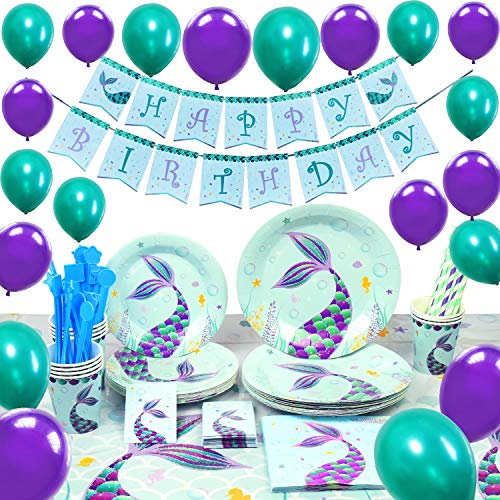 WERNNSAI Pool Mermaid Party Supplies Kit - Girls Birthday Party Decoration Cutlery Bag Table Cover Plates Cups Napkins Straws Utensils Birthday Banner & Balloons Serves 16 Guests 169 PCS