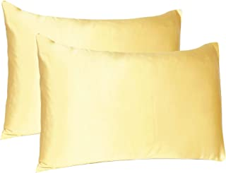 Oussum Hair and Skin Home Decor Soft and Comfortable Silky Satin Silk Pillow Case Cover (Golden, King Size, 20X40 Inches) ...