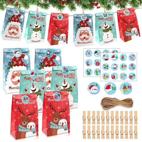 24 Pcs DIY Calendario de Adviento Navidad, Cajas de Regalo Navidad Bolsas de Regalo Kraft, Calendario de Adviento Navidad, Bolsas de Papel Kraft navideño (BB009)