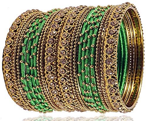 NMII Silk Fabric Metal Bangle for Women & Girls(Green-2.6)