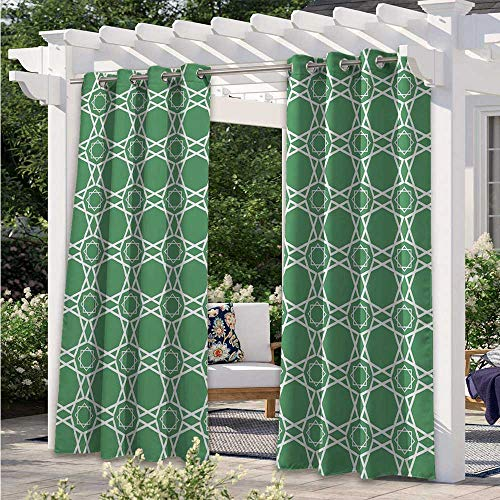 Print Outdoor Curtains Moroccan Traditional Star Pattern Girih Tiles Inspired Geometrical Retro Arabic Outdoor DéCor Patio Curtains Sun Light Blocking Waterproof Sea Green White W55 x L72 Inch