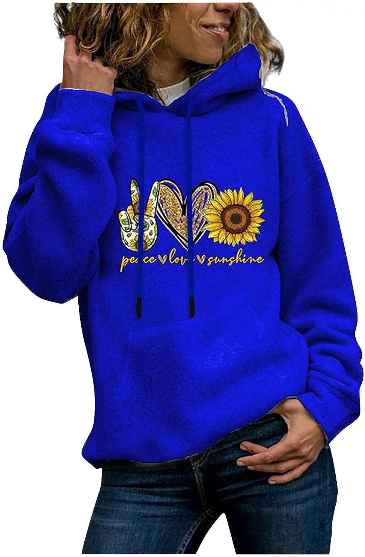 Women Casual Hoodies Long Sleeve Color Block Fleece Hooded Pullover Drawstring Sweatshirt Tops Shirts with Pockets