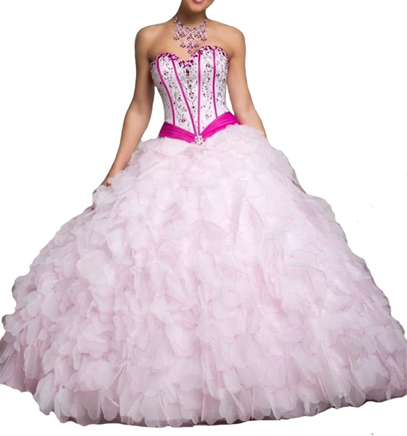 HSDJ Women's Spaghetti Straps Ball Gowns Pageant Quinceanera Dresses