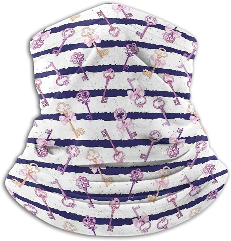 Neck Warmer Girls Fishing Neck Gaiter Sun Protection Old Medieval Vintage Keys with Ribbons and Diamonds Striped Pattern in French Style Purple Blue