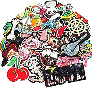 Dandan DIY 100pcs Random Assorted Styles Embroidered Patch Applique Clothes Dress Plant Hat Jean DIY
