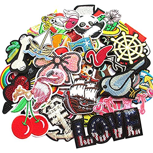 Dandan DIY Random 100pcs Assorted Styles Embroidered Patch Sew On/Iron On Patch Applique Clothes Dress Plant Hat Jeans Sewing Flowers Applique DIY Accessory (100)