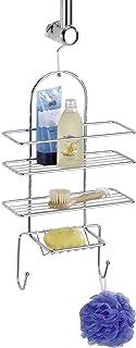 WENKO Serviteur de douche - étagère de douche avec 3 étagères, 2 crochets, Acier, 25 x 54 x 10 cm, Chromé