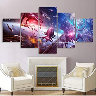 Junewind Canvas Painting 5 Piece Canvas Painting Mass Effect Game Posters and Prints Wall Picture for Living Room -Size