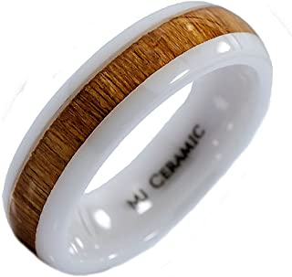 MJ Metals Jewelry 6mm White Ceramic Wedding Band, Inlay Made from Real Koa Wood