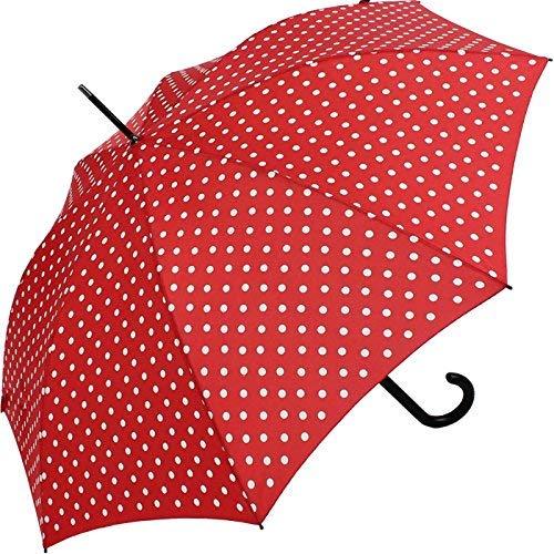 Knirps Stockschirm Damen Automatik Polka dots - red-White