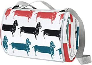 EGGDIOQ Dachshunds Long Dogs Picnic Blanket Waterproof Outdoor Blanket Foldable Picnic Handy Mat Tote for Beach Camping Hi...