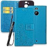 Slynmax Blumen Lederhülle für HTC 10 EVO/HTC Bolt Wallet Flip Hülle Handytasche Lanyard Strap Leder Tasche Klapphülle Karten Slot Ständer Magnetverschluss Handyhülle(Blau)