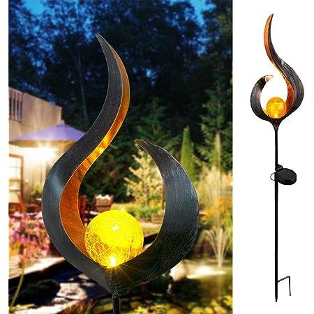 CAMPSLE ガーデンライト ソーラー,ソーラーアイアンアートムーン/ハート型フレームライト芝生LEDライト IP55防水 中空/無地の景観ライト 温かみのある色割れガラスシェルデザイン ガーデニングガーデンライト