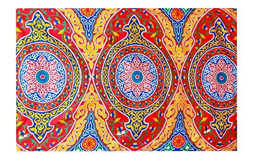 Egyptian Ramadan Eid Celebration Decorative Colorful Red Printed with Yellow Fringes Khayamiya Khayameya khyamya Khayyāmiyah Pattern Linen Tablecloth Dining Room Kitchen Square Table Cloth Cover