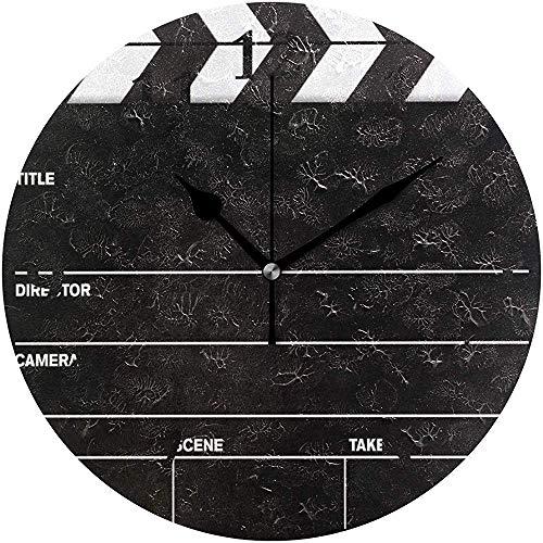 Moily Fayshow Runde Wanduhr Filmklappe Alle Schwarz Kreative Heimat Dekorative Stille Nicht Ticken Batteriebetriebene Uhr
