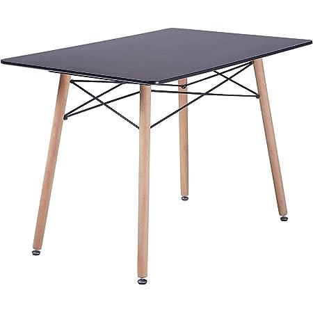 H.J WeDoo Table à Manger Rectangulaire Scandinave Noir 110 x 70 x 73 cm avec Cadre en Acier