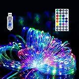 Guirlande Lumineuse Extérieure Tube, 10M 100 LED Fairy lights à l'extérieur coloré, tubes lumineux avec télécommande, Guirlande Lumières Imperméable pour Jardin Maison Fête Mariage Noël Décoration