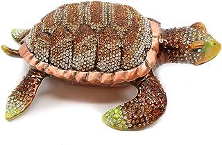 Trinket Jewelry Box with Swarovski, Decorative Figurines Brown Turtle 6.5 Inches