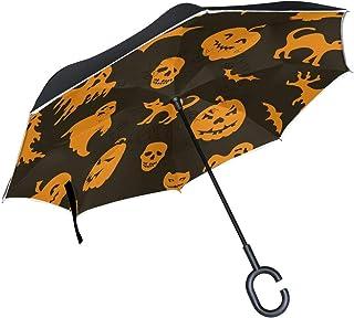rodde Double Couche inversé Halloween Citrouille Chat fantôme Chauve-Souris Voitures inverser Parapluie Pluie Coupe-Vent p...