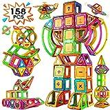 Blusmart 158 Pièces 3D Blocs Construction magnétiques, Jeux de Construction Magnétique, Grande Roue/Voiture/Robot Aimanté Jouet Educatif et Créatif pour Les Garçons Filles pour 2 3 4 5 6 7 8 Ans